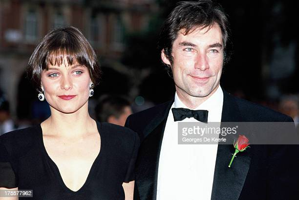 Actors Timothy Dalton and Carey Lowell attend the premiere of the James Bond film 'License to Kill' at the Odeon cinema on June 13 1989 in London...