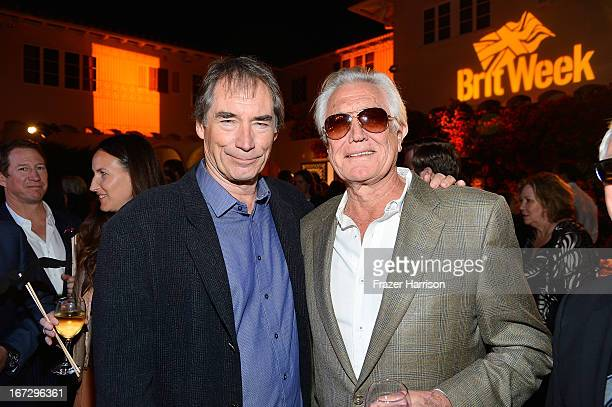 Actors Timothy Dalton and George Lazenby attend the launch of the Seventh Annual BritWeek Festival 'A Salute To Old Hollywood' on April 23 2013 in...