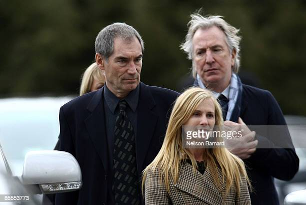 Actors Timothy Dalton Holly Hunter and Alan Rickman arrive for the funeral of actress Natasha Richardson at St Peter's Lithgow Episcopal Church on...