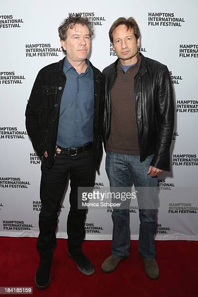 Actors Timothy Hutton and David Duchovny attend the 21st Annual Hamptons International Film Festival on October 11, 2013 in East Hampton, New York.