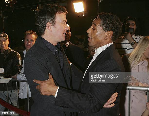 Actors Timothy Hutton and Giancarlo Esposito talk at the premiere of Paramount Pictures' Last Holiday at the Cinerama Dome Theater on January 12 2006...