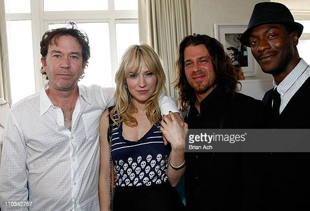 Actors Timothy Hutton Beth Riesgraf Christian Kane and Aldis Hodge pose with at the Lia Sophia Upfront Suite at The London Hotel on May 20 2009 in...