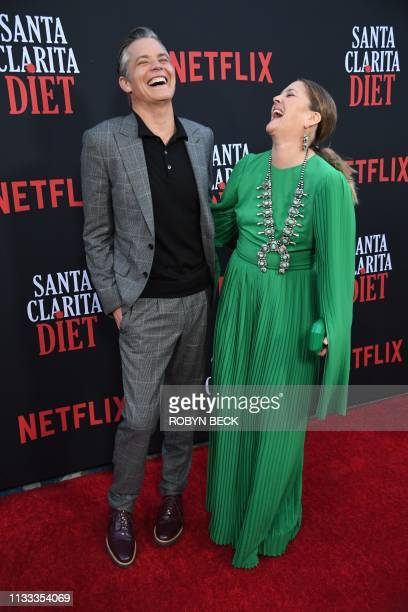Actors Timothy Olyphant and Drew Barrymore attend the premiere of Netflix's Santa Clarita Diet Season 3 at Hollywood Post 43 in Hollywood on March 28...