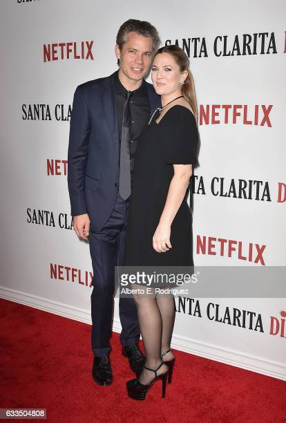 Actors Timothy Olyphant and Drew Barrymore attend the premiere Netflix's Santa Clarita Diet at ArcLight Cinemas Cinerama Dome on February 1 2017 in...