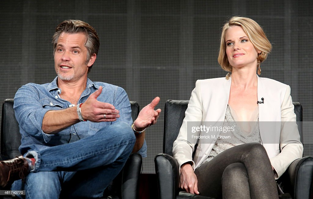 Actors Timothy Olyphant (L) and Joelle Carter speak onstage during the 'Justified' panel discussion at the FX Networks portion of the Television Critics Association press tour at Langham Hotel on January 18, 2015 in Pasadena, California.