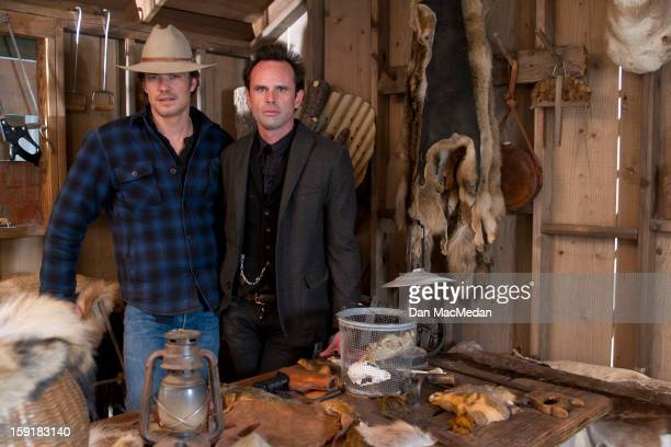 Actors Timothy Olyphant and Walton Goggins are photographed for USA Today on November 29 2012 on the set in Santa Clarita California