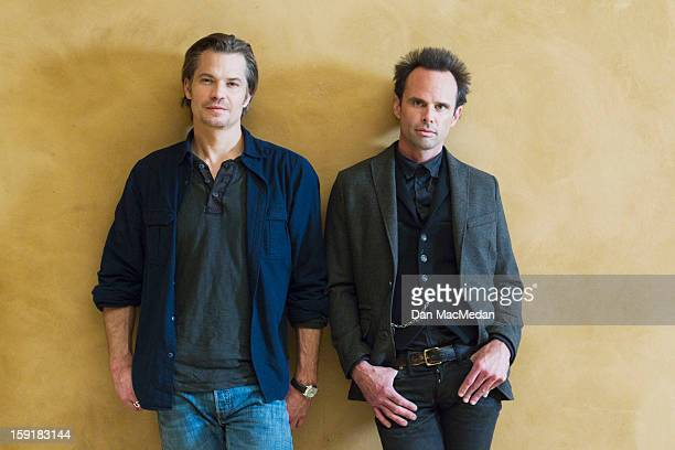 Actors Timothy Olyphant and Walton Goggins are photographed for USA Today on November 29 2012 on the set in Santa Clarita California PUBLISHED IMAGE