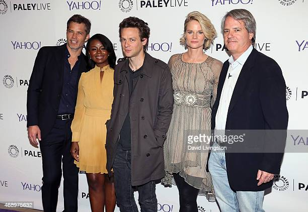 Actors Timothy Olyphant Erica Tazel Jacob Pitts and Joelle Carter and writer Graham Yost attend An Evening With FX's Justified presented by The Paley...
