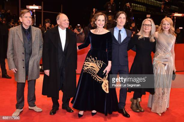 Actors Timothy Spall Bruno Ganz Kristin Scott Thomas Cillian Murphy director Sally Potter and Patricia Clarkson attend the 'The Party' premiere...