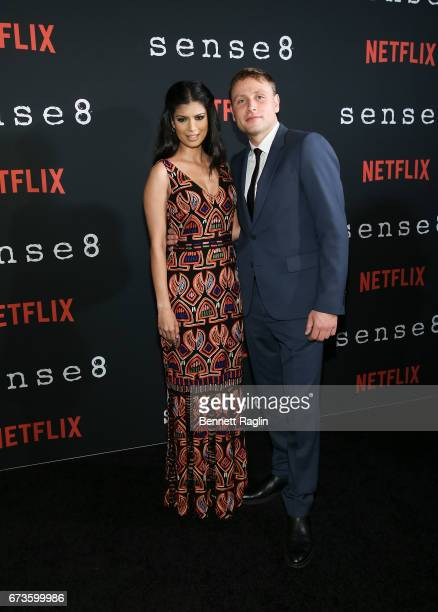 Actors Tina Desai and Max Riemwlt attend the Sense8 New York premiere at AMC Lincoln Square Theater on April 26 2017 in New York City