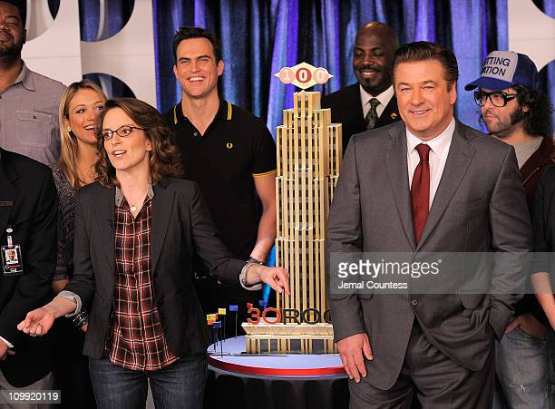 Actors Tina Fey and Alec Baldwin and the cast of '30 Rock' attend the '30 Rock' 100th Episode Celebration at Silver Cup Studios on March 10 2011 in...