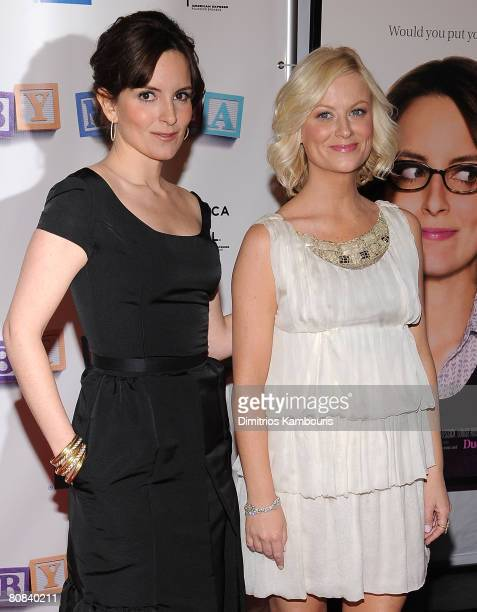 """Actors Tina Fey and Amy Poehler arrive to the """"Baby Mama"""" premiere at the Ziegfeld Theatre, during the 2008 Tribeca Film Festival on April 23, 2008..."""