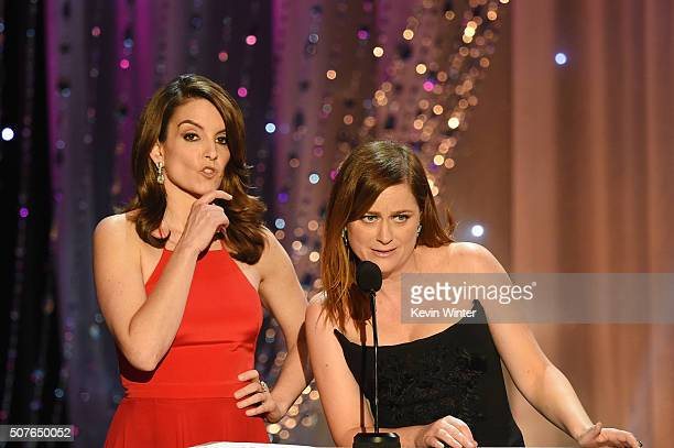 Actors Tina Fey and Amy Poehler speak onstage during The 22nd Annual Screen Actors Guild Awards at The Shrine Auditorium on January 30 2016 in Los...
