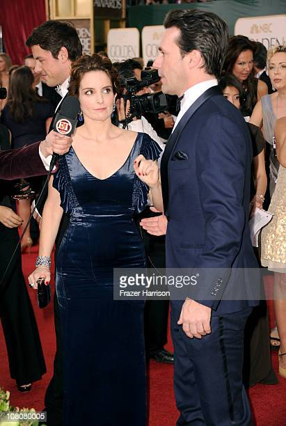 Actors Tina Fey and Jon Hamm arrive at the 68th Annual Golden Globe Awards held at The Beverly Hilton hotel on January 16, 2011 in Beverly Hills,...