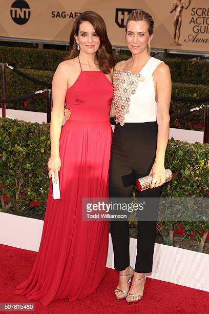 Actors Tina Fey and Kristen Wiig attend the 22nd Annual Screen Actors Guild Awards at The Shrine Auditorium on January 30, 2016 in Los Angeles,...