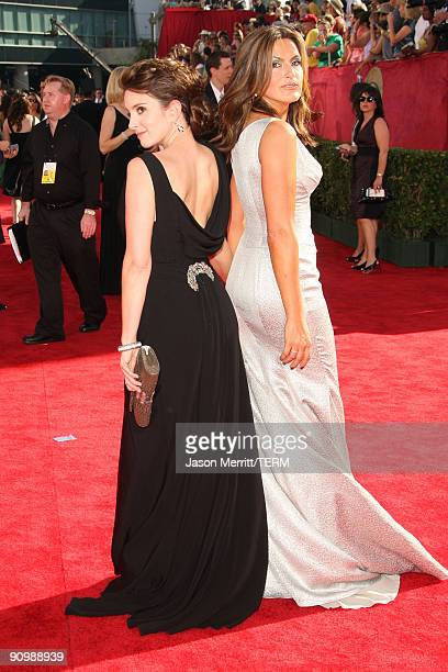 Actors Tina Fey and Mariska Hargitay arrive at the 61st Primetime Emmy Awards held at the Nokia Theatre on September 20 2009 in Los Angeles California