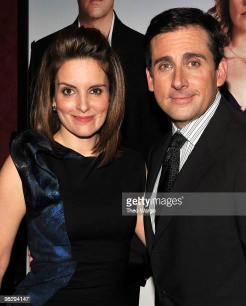 """Actors Tina Fey and Steve Carell attend the premiere of """"Date Night"""" at Ziegfeld Theatre on April 6, 2010 in New York City."""
