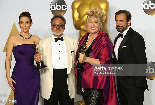 Actors Tina Fey and Steve Carell with production designers Colin Gibson and Lisa Thompson winners of the Best Production Design award for 'Mad Max...