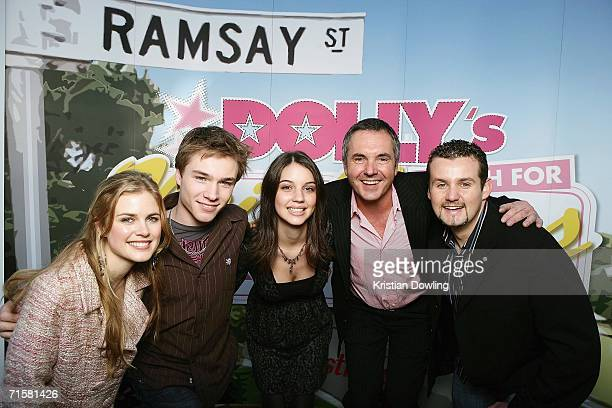 Actors Tippa Black Sam Clarke Adelaide Kane Alan Fletcher and Ryan Maloney pose together after Clarke and Kane are announced as the winners of Dolly...