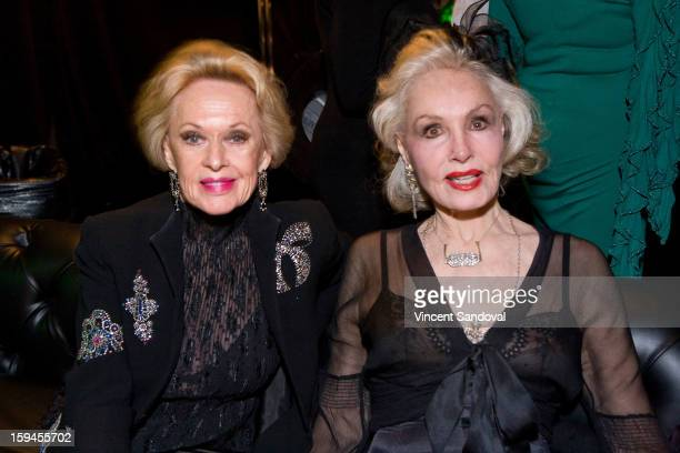 Actors Tippi Hedren and Julie Newmar attend GLEH's Golden Globe viewing gala at Jim Henson Studios on January 13 2013 in Hollywood California