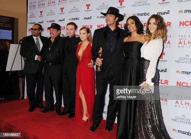 Actors Tito Larriva Danny Trejo Daryl Sabara and Alexa Vega director Robert Rodriguez and actors Rosario Dawson and Jessica Alba pose in the press...
