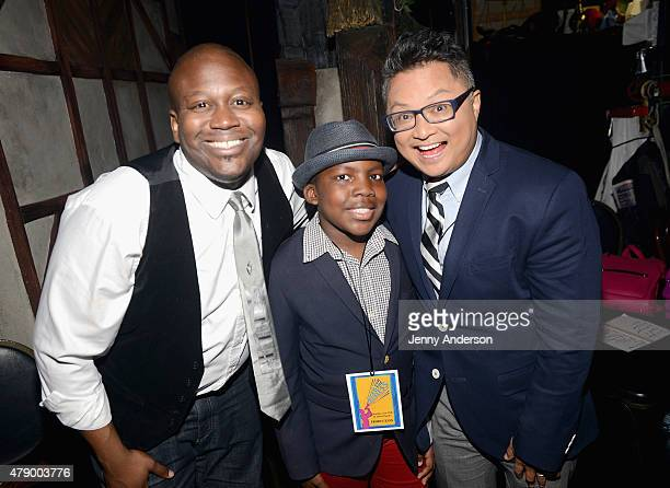 Actors Tituss Burgess and Alec Mapa pose with honoree during Voices For The Voiceless: Stars For Foster Kids at St James Theater on June 29, 2015 in...
