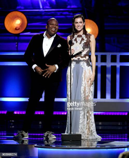 Actors Tituss Burgess and Allison Williams speak onstage during The 23rd Annual Critics' Choice Awards at Barker Hangar on January 11 2018 in Santa...