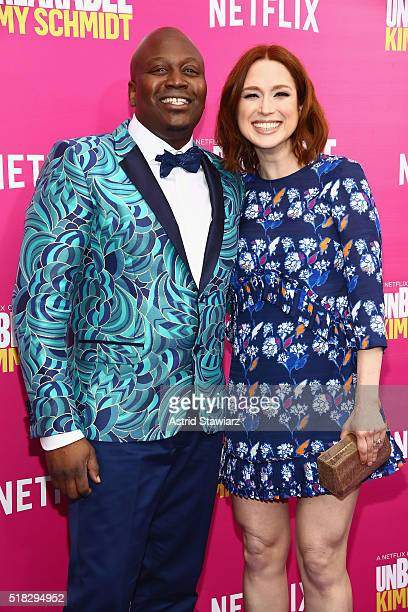 """Actors Tituss Burgess and Ellie Kemper attend the """"Unbreakable Kimmy Schmidt"""" Season 2 world premiere at SVA Theatre on March 30, 2016 in New York..."""