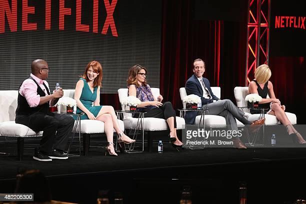 Actors Tituss Burgess Ellie Kemper creator/executive producer Tina Fey creator/executive producer Robert Carlock and actress Jane Krakowski speak...