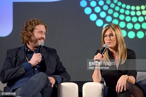 Actors TJ Miller and Jennifer Aniston speak onstage during the Stars of Office Christmas Party panel at Entertainment Weekly's PopFest at The Reef on...