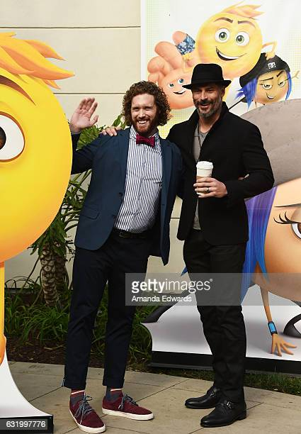 Actors TJ Miller and Joe Manganiello attend the photo call for Columbia Pictures' The Emoji Movie at Sony Pictures Studios on January 18 2017 in...