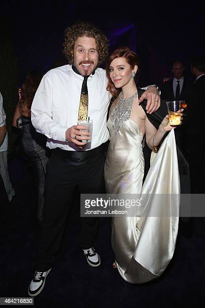 Actors TJ Miller and Kate Gorney attend ROCA PATRON TEQUILA at the 23rd Annual Elton John AIDS Foundation Academy Awards Viewing Party on February 22...
