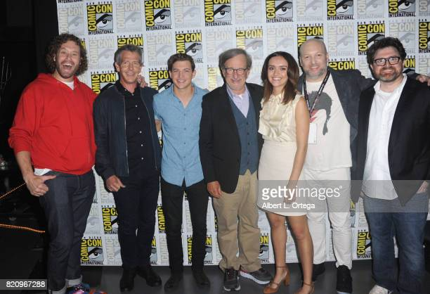 Actors TJ Miller Ben Mendelsohn and Tye Sheridan director Steven Spielberg actor Olivia Cooke screenwriters Zak Penn and Ernest Cline attend the...