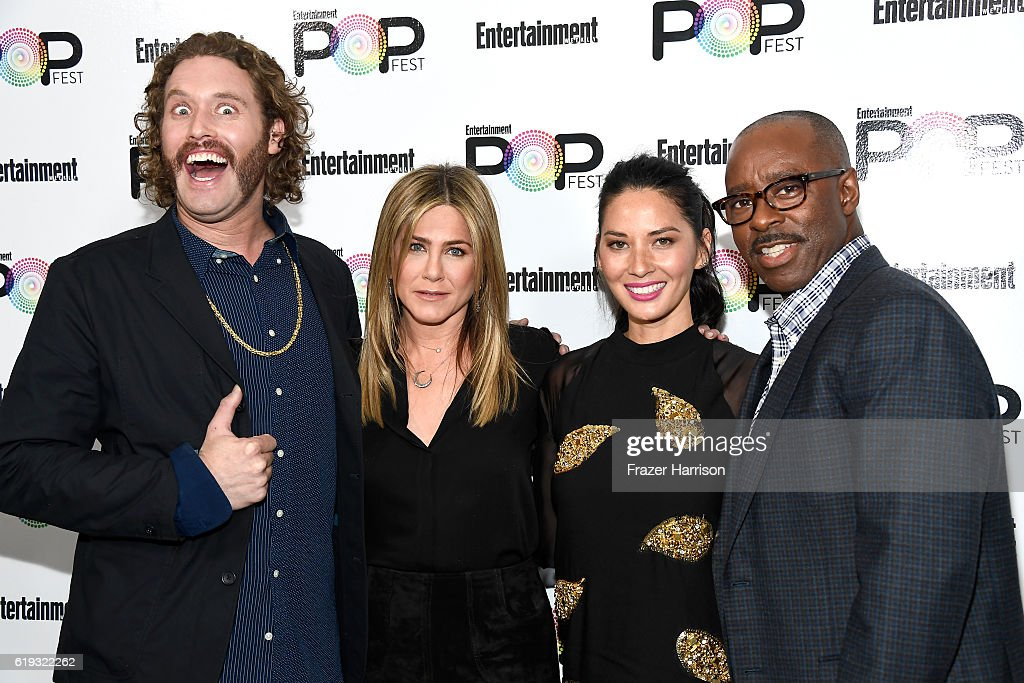 Actors T.J. Miller, Jennifer Aniston, Olivia Munn and Courtney B. Vance pose backstage during Entertainment Weekly's PopFest at The Reef on October 30, 2016 in Los Angeles, California.