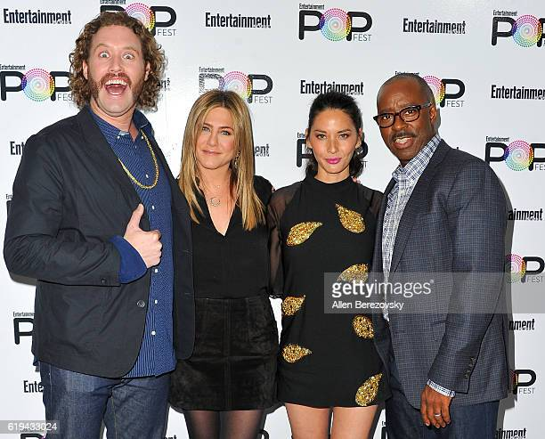 Actors TJ Miller Jennifer Aniston Olivia Munn and Courtney B Vance attend Entertainment Weekly's Popfest at The Reef on October 30 2016 in Los...