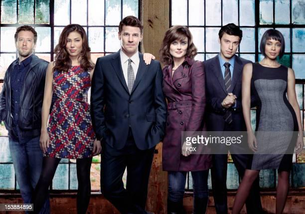 Actors TJ Thyne Michaela Conlin David Boreanaz Emily Deschanel John Francis Daley and Tamara Taylor on Season Eight of BONES airing Mondays on FOX
