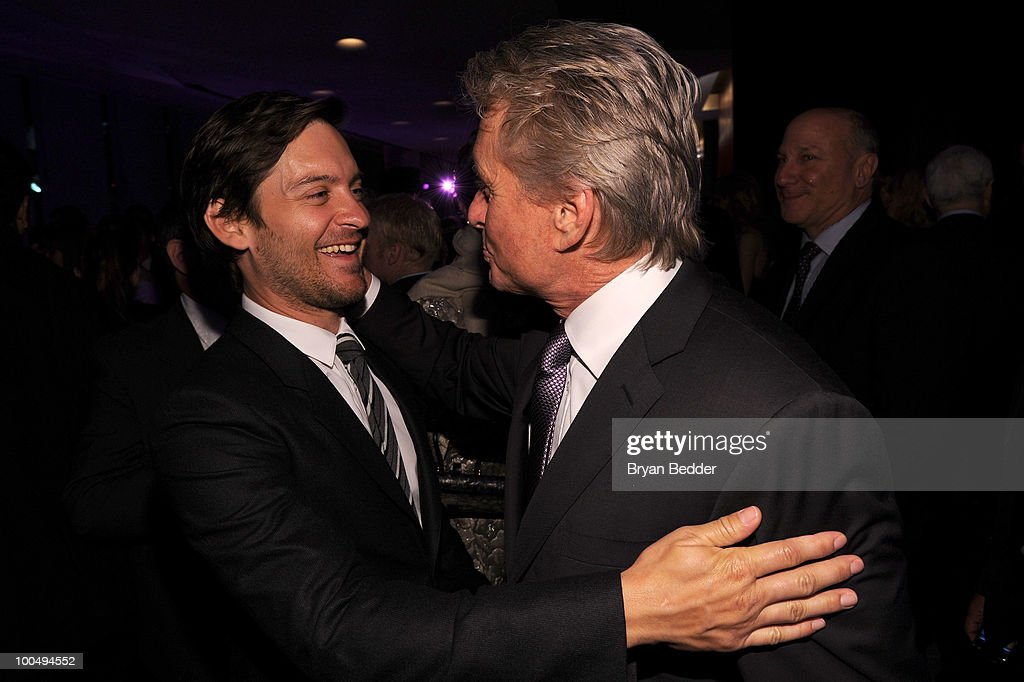 Actors Tobey Maguire and Michael Douglas attend the The Film Society of Lincoln Center's 37th Annual Chaplin Award gala at Alice Tully Hall on May 24, 2010 in New York City.