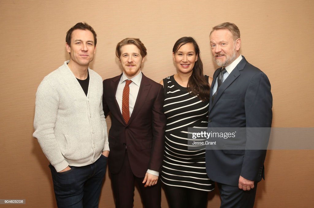 Actors Tobias Menzies, Adam Nagaitis, Nive Nielsen and Jared Harris of the television show The Terror pose for a photo in the green room during the AMC portion of the 2018 Winter Television Critics Association Press Tour on January 13, 2018 in Pasadena, California.