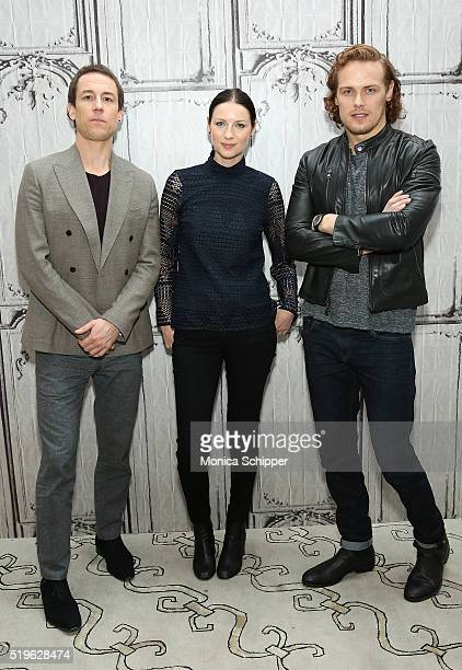 Actors Tobias Menzies Caitriona Balfe and Sam Heughan attend AOL Build Speakers Series Caitriona Balfe And Sam Heughan Outlander at AOL Studios In...