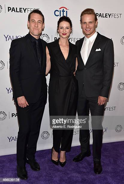 Actors Tobias Menzies Caitriona Balfe and Sam Heughan attend The Paley Center for Media's 32nd Annual PALEYFEST LA Outlander at Dolby Theatre on...