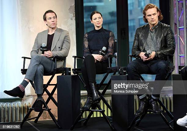 Actors Tobias Menzies Caitriona Balfe and Sam Heughan speak at AOL Build Speakers Series Caitriona Balfe And Sam Heughan Outlander at AOL Studios In...