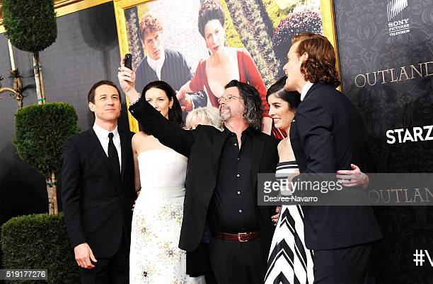 Actors Tobias Menzies Caitriona Balfe 'Outland' Creator Ronald D Moore 'Outland' Executive Producer Maril Davis and actor Sam Heughan attend...
