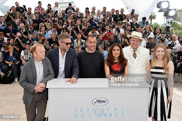 Actors Toby Jones Vincent Cassel Director Matteo Garrone actors Salma Hayek John C Reilly and Bebe Cave attend a photocall for Il Racconto Dei...