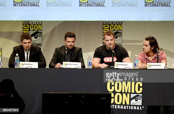 Actors Toby Kebbell Dominic Cooper Rob Kazinsky and Ben Schnetzer speak onstage at the Legendary Pictures panel during ComicCon International 2015...