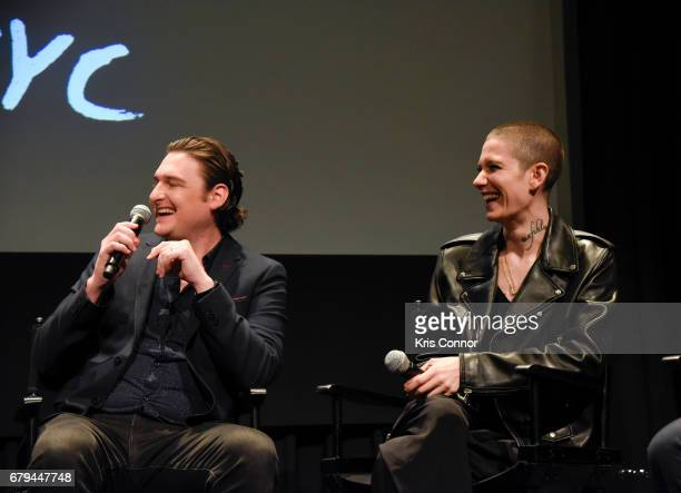 Actors Toby Leonard Moore and Asia Kate Dillon speak during the SHOWTIMEpresented screening panel discussion and reception for episode 211 of the hit...