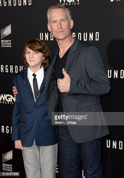 """Actors Toby Nichols and Reed Diamond arrive for the Premiere Of WGN America's """"Underground"""" held at The Theatre At The Ace Hotel on March 2, 2016 in..."""
