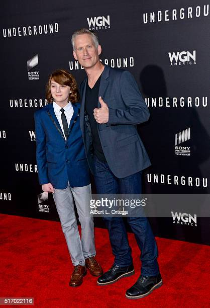 """Actors Toby Nichols and Reed Diamond arrive for the Premiere Of WGN America's """"Underground"""" at The Theatre At The Ace Hotel on March 2, 2016 in Los..."""