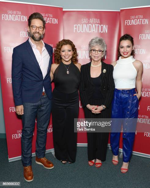 Actors Todd Grinnell Justina Machado Rita Moreno and Isabella Gomez attend the SAGAFTRA Foundation conversations and screening of 'One Day At A Time'...