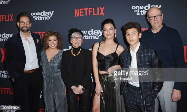 Actors Todd Grinnell Justina Machado Rita Moreno Isabella Gomez Marcel Ruiz and Stephen Tobolowsky attend the premiere of Netflix's One Day At A Time...