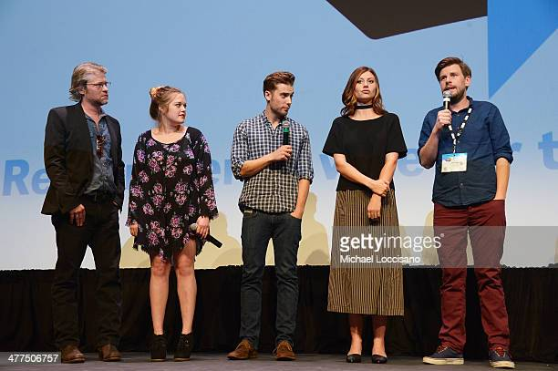Actors Todd Lowe Sophi Bairley Dustin Milligan and Aly Michalka and director Andy Landen take part in a QA following the Sequoia premiere during the...